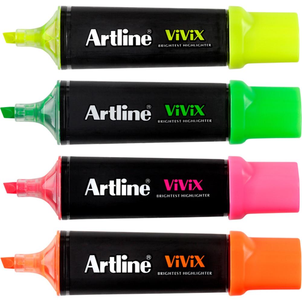 Artline Vivix Highlighter Marker Chisel 1-4mm Assorted Pack Of 4