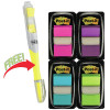 Post-It 680-PPBGVA Flags Value Pack 25x43mm Bright Colours + Highlighter Pack of 200