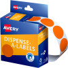 Avery Removable Dispenser Labels 24mm Round Orange Pack of 500