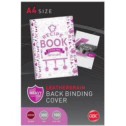 GBC Binding Covers A4 300gsm Leathergrain Pack of 100 Maroon