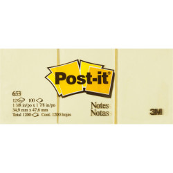 Post-It 653 Notes Original 36x48mm Yellow Pad 100 Sheets Pack of 12