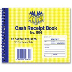 Spirax 504 Business Book Cash Receipt Quarto Carbonless Side Opening 102x127mm