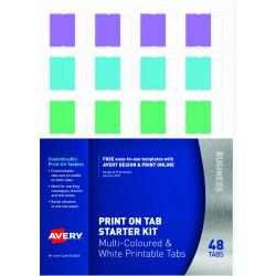 Avery Printable Tabbies Starter Kit 96 Bright Multi Colour Pack of 20