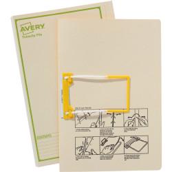 Avery Tubeclip File Foolscap Buff Printed Green
