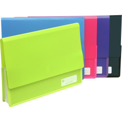 Marbig Polypick Document Wallet A4 Heavy Duty 45mm Gusset Pink