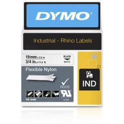 Dymo 18489 Rhino Industrial Labels 19mmx3.5m Nylon Black on White