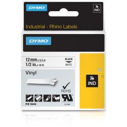 Dymo 18444 Rhino Industrial Labels 12mmx5.5m Vinyl Black on White