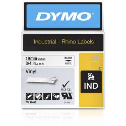 Dymo 18445 Rhino Industrial Labels 19mmx5.5m Vinyl Black on White