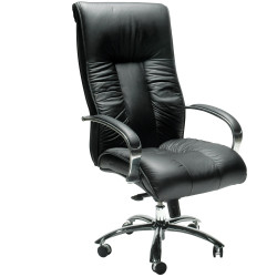 Big Boy Directors Chair High Back Padded Arms Black Leather