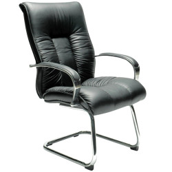 Big Boy Directors Chair Cantilever Frame Padded Arms Black Leather