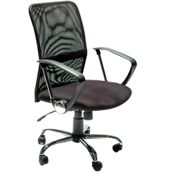 Stat Executive Office Chair With Arms Medium Mesh Back Black Fabric Seat