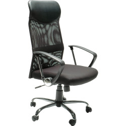 Stat Executive Office Chair With Arms High Mesh Back Black Fabric Seat