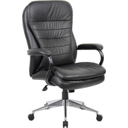 Titan High Back Executive Chair Heavy Duty 200kg Load Rated Black Leather