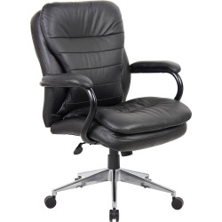 Titan Medium Back Executive Chair Heavy Duty 200kg Load Rated Black Leather