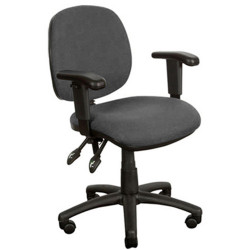 Crescent Medium Back Task Chair With Arms Black Fabric
