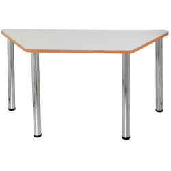 Quorum Geometry Meeting Table Trapezoid 1500Wx750mmD Chrome Legs Off White Top