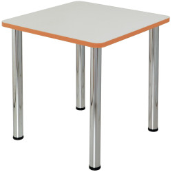 Quorum Geometry Meeting Table Square 750Wx750mmD Chrome Legs Off White Top