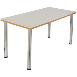 Quorum Geometry Meeting Table Rectangle 1500Wx750mmD Chrome Legs Off White Top