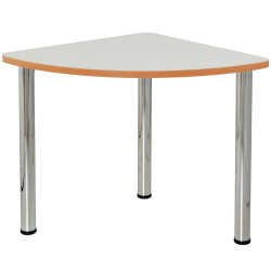 Quorum Geometry Meeting Table Quarter Round 750Wx750mmD Chrome Legs Off White Top
