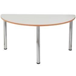 Quorum Geometry Meeting Table Half Round 1500Wx750mmD Chrome Legs Off White Top