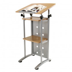 Quorum Lectern with Shelves Adjustable Height and Tilt Silver Frame Beech Top