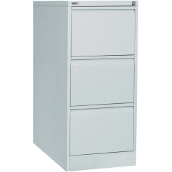 Go Steel 3 Drawer Filing Cabinet 1016Hx460Wx620mmD Silver Grey