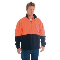 Zions Hi-Vis Two Tone 1/2 Zip Polar Fleece Jumper Orange & Navy