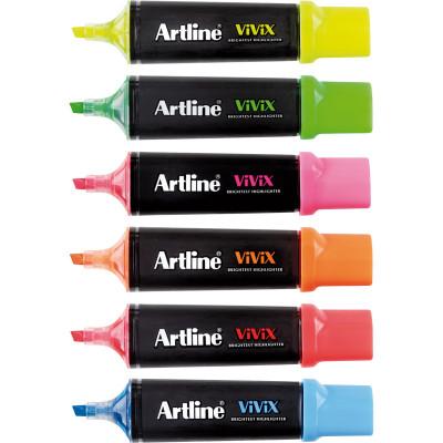 Artline Vivix Highlighter Marker Chisel 2-5mm Assorted Pack Of 6